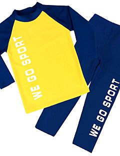 Two Pieces Set Yellow UPF50+ Sun Protection Long Sleeve and Pants Rash Guard/Swimsuit for 4~10Y Kids Boys Water Sport