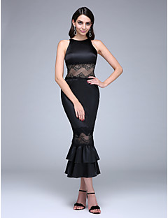 TS Couture Prom Formal Evening Dress - Little Black Dress Trumpet / Mermaid Jewel Tea-length Lace Stretch Satin with Lace Ruffles