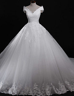 Ball Gown Wedding Dress Vintage Inspired Chapel Train Off-the-shoulder Tulle with Appliques Lace
