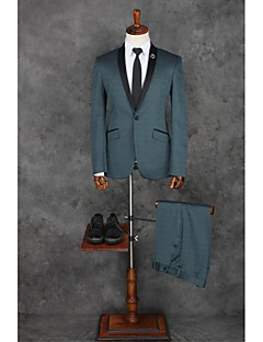 Suits Tailored Fit Shawl Collar Single Breasted One-button Polyester Solid 2 Pieces Blue Slanted Flapped