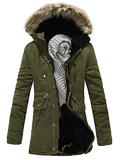 Men's Long Parka Coat,Polyester Solid Long Sleeve