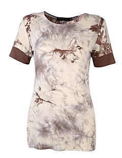 Women's Casual/Daily Street chic Summer T-shirt,Galaxy Round Neck Short Sleeve Black / Brown Cotton Medium