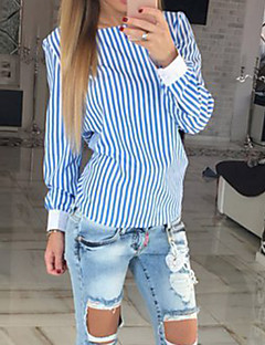 Women's Casual/Daily Sexy Blouse,Striped Boat Neck Long Sleeve Blue / Pink Cotton / Polyester Thin