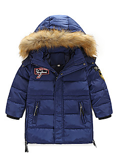 Boy's Casual/Daily Solid Down & Cotton Padded,Cotton / Polyester Winter / Fall Black / Blue / Red