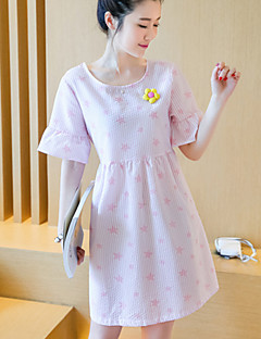 Round Neck Ruffle Maternity Dress,Cotton Above Knee ½ Length Sleeve