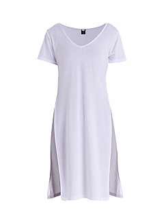 婦人向け カジュアル/普段着 夏 Tシャツ,シンプル Vネック ソリッド ホワイト コットン 長袖 ミディアム