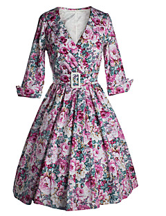Women's Going out / Casual/Daily Vintage / Cute A Line Dress,Floral V Neck Knee-length ½ Length Sleeve