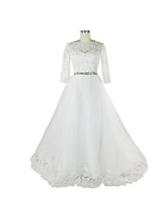 A-line Wedding Dress Chapel Train Jewel Lace with Appliques