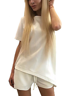 Vrouwen Sexy / Street chic T-shirt,Uitgaan Effen Ronde hals Korte mouw Roze / Wit / Zwart Rayon Dun