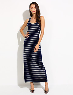 Women's Casual/Daily Bodycon Dress,Striped Off Shoulder Midi Sleeveless Blue / Black / Gray Cotton Summer