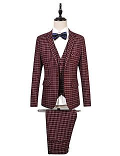 2017 obleky na míru fit zářez single prsy jedním tlačítkem bavlněné pruhy 3 kusy modrá / červená rovný třepotal nic