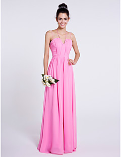 Lanting Bride® Floor-length Chiffon Bridesmaid Dress Sheath / Column Spaghetti Straps with Draping / Ruching