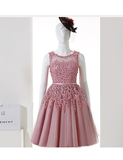 Cocktail Party Dress A-line Jewel Knee-length Tulle with Appliques / Sash / Ribbon