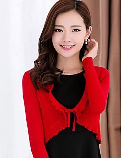 여성의 솔리드 라운드 넥 긴 소매 블레이져,스트리트 쉬크 파티/칵테일 핑크 / 레드 / 블랙 / 그레이 / 퍼플 면 여름 얇음