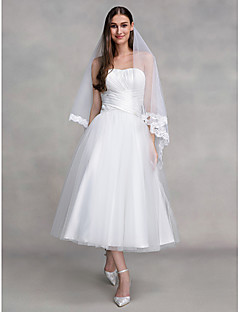 Lanting Bride A-line Wedding Dress Ankle-length Strapless Tulle with Criss-Cross