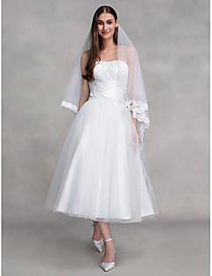 LAN TING BRIDE A-linje Bryllupskjole Små Hvite Kjoler Ankellang Stroppeløs Tyll med Kryssdrapering