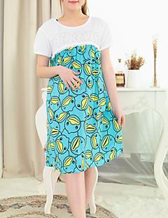 Round Neck Sequins Maternity Dress,Cotton Midi Short Sleeve