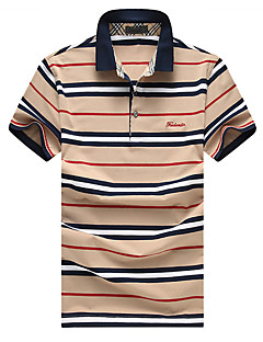Men's Short Sleeve Polo,Cotton Casual / Plus Size Striped