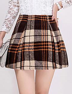 Ovenfor knéet Skjørt Vintage Polyester Mikroelastisk Kvinner