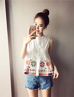 Camicia Da donna Casual Stoffe orientali Estate,Ricamato Rotonda Rayon Blu Senza maniche Medio spessore
