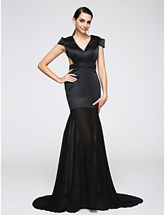 TS Couture® Formal Evening Dress Trumpet / Mermaid V-neck Sweep / Brush Train Chiffon / Jersey with Sash / Ribbon