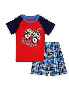 Drengens Tøjsæt / Nattøj Bomuld Patchwork Casual/hverdag Sommer Rød