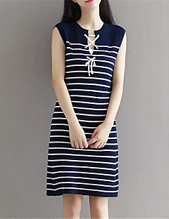 Women's Going out Street chic Shift Dress,Striped Round Neck Knee-length Sleeveless Blue Cotton / Spandex Summer