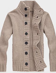 Men's Casual/Daily Simple Regular Cardigan,Solid Blue Black Gray Shirt Collar Long Sleeve Wool Fall Winter Medium Micro-elastic