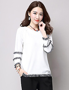 Women's Plus Size Street chic Spring / Fall T-shirt,Patchwork Round Neck Long Sleeve White / Black Polyester Medium