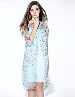 i-yecho Frauen einfachen Blumen loses Kleid, runder Ausschnitt Mini Polyester