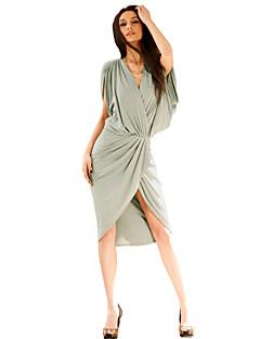joannekitten® kvinders wrap dyb v-hals snoet høj lav kjole