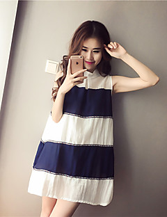 Maternity Casual/Daily Vintage / Simple Loose Dress,Color Block Stand Knee-length Sleeveless Blue / Black Spandex Summer