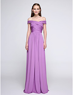 Bridesmaid Dress 2017 Lanting Bride® Floor-length Jersey Elegant - Sheath / Column Off-the-shoulder with Criss Cross