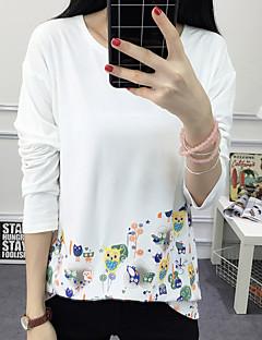 여성의 자수장식 라운드 넥 긴 소매 티셔츠,심플 캐쥬얼/데일리 블루 / 화이트 면 가을 중간