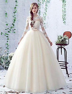 A-line Wedding Dress Floor-length Jewel Lace / Tulle with Lace