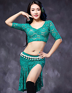Belly Dance Outfits Women's Performance Lace 2 Pieces Black / Dark Green / White / Burgundy Half Sleeve Top / Skirt