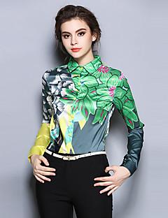 Women's Going out Vintage All Seasons Shirt,Print Shirt Collar Long Sleeve Green Polyester Medium