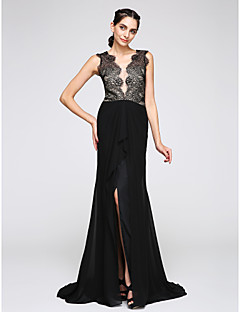 TS Couture® Formal Evening Dress Trumpet / Mermaid V-neck Sweep / Brush Train Chiffon / Lace with Lace