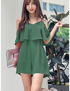 Polyester-Micro-elastisch-Dun-Vrouwen-Eenvoudig-Jumpsuits-Halflange mouw