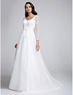 LAN TING BRIDE A-line Wedding Dress See-Through Court Train V-neck Lace with Lace