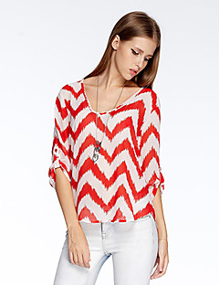 Women's Going out Simple Summer T-shirt,Geometric Round Neck ¾ Sleeve Orange Polyester Thin