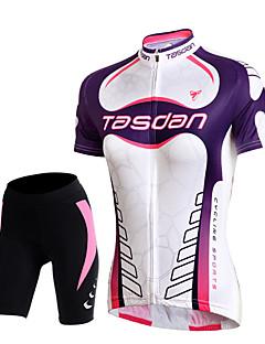 TASDAN חולצת ג'רסי ומכנס קצר לרכיבה לנשים שרוול קצר אופניים נושם ייבוש מהיר 3D לוח רצועות מחזירי אור כיס אחורי תומך זיעהמכנסיים קצרים