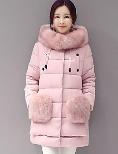 婦人向け 長袖 ダウン コート,ストリートファッション コットン / ポリエステル / 特殊毛皮タイプ