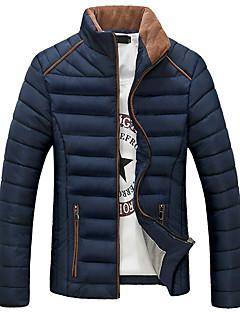 Herren Gefüttert Mantel - Normal Einfarbig Lang Polyester