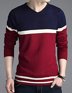 Men's Color Block Casual / Work Pullover,Cotton / Acrylic / Polyester Long Sleeve Red / Gray 916332