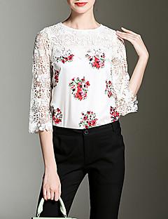 Vrouwen Street chic Herfst Overhemd,Casual/Dagelijks Bloemen Ronde hals Driekwart mouw Rood / Wit Polyester Dik