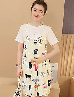 Maternity Going out / Casual/Daily Cute Loose Dress,Print Round Neck Above Knee Short Sleeve Summer