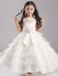 볼 드레스 발목 길이 플라워 걸 드레스 - 오간자 / 새틴 / 폴리에스테르 짧은 소매 쥬얼리 와 아플리케 / 비즈