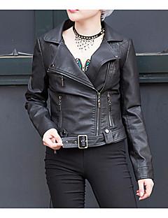 Casual/hétköznapi Egyszerű V-alakú-Női Kožnate jakne,Egyszínű Tavaszi / Őszi Hosszú ujj Piros / Fehér / Fekete PoliuretánKözepes