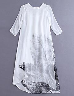 Damen Lose Kleid-Ausgehen Chinoiserie Blumen Rundhalsausschnitt Knielang / Asymmetrisch ¾-Arm Blau / Weiß Leinen FrühlingMittlere